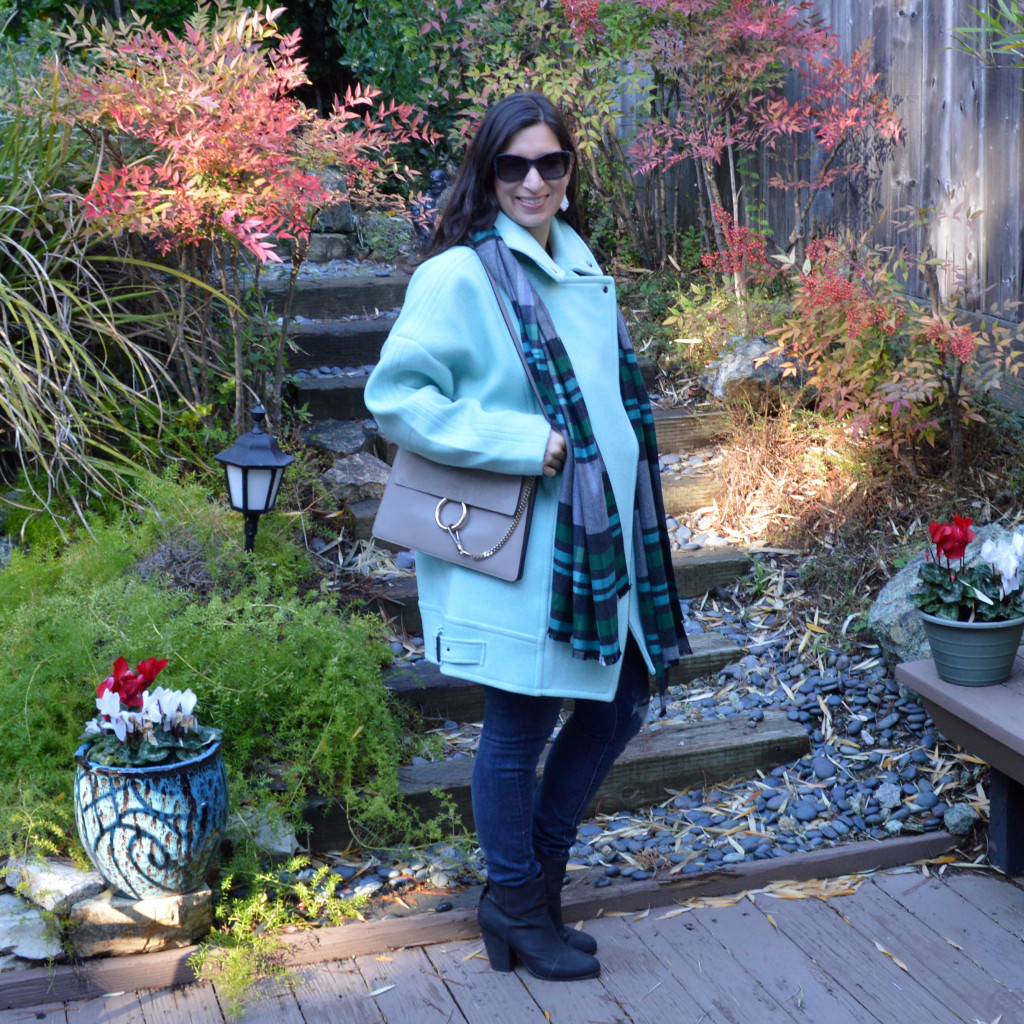 Blue Coat And Blanket Scarf Outfit Idea Bay Area Fashionista