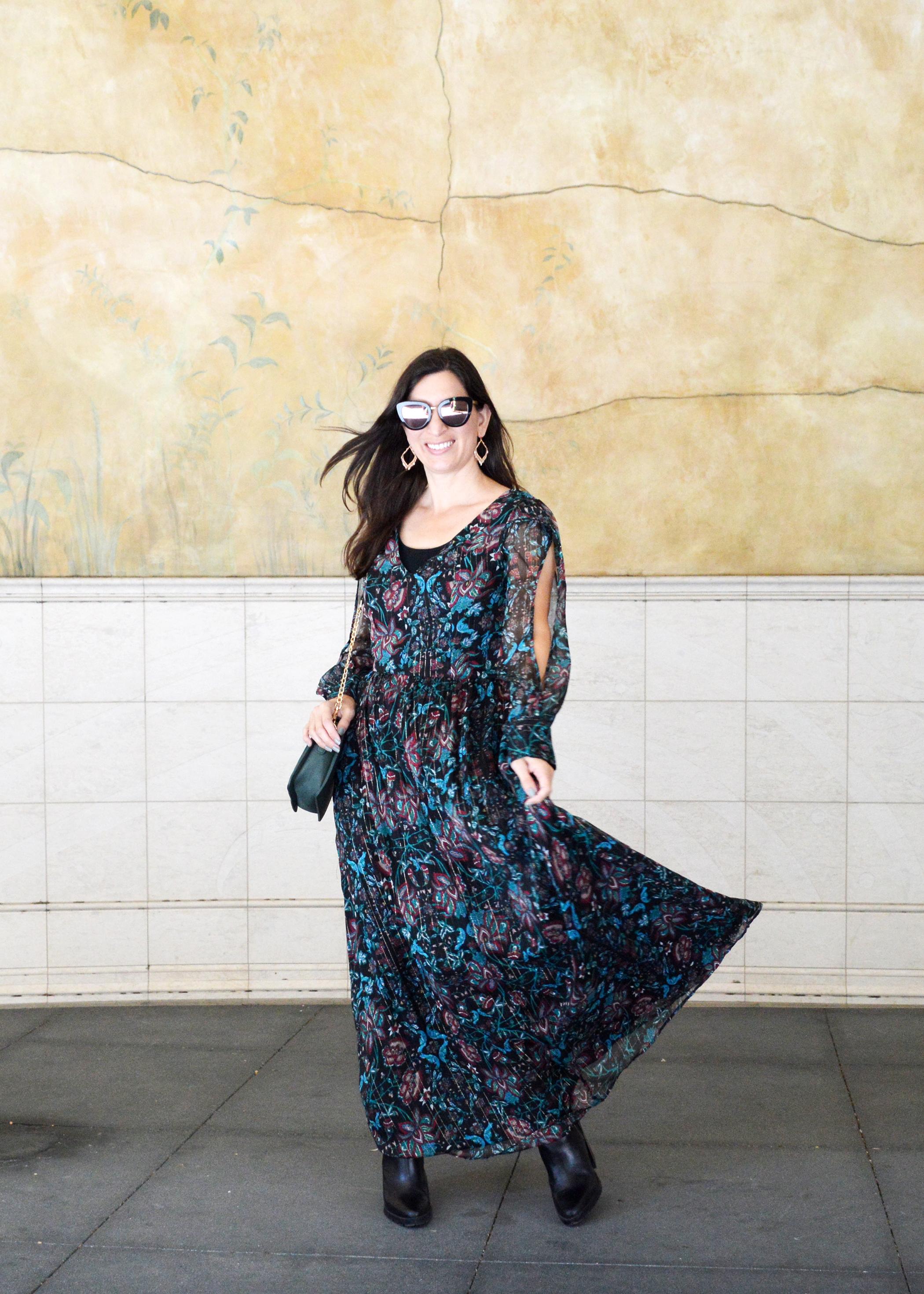 fall flroal maxi dress