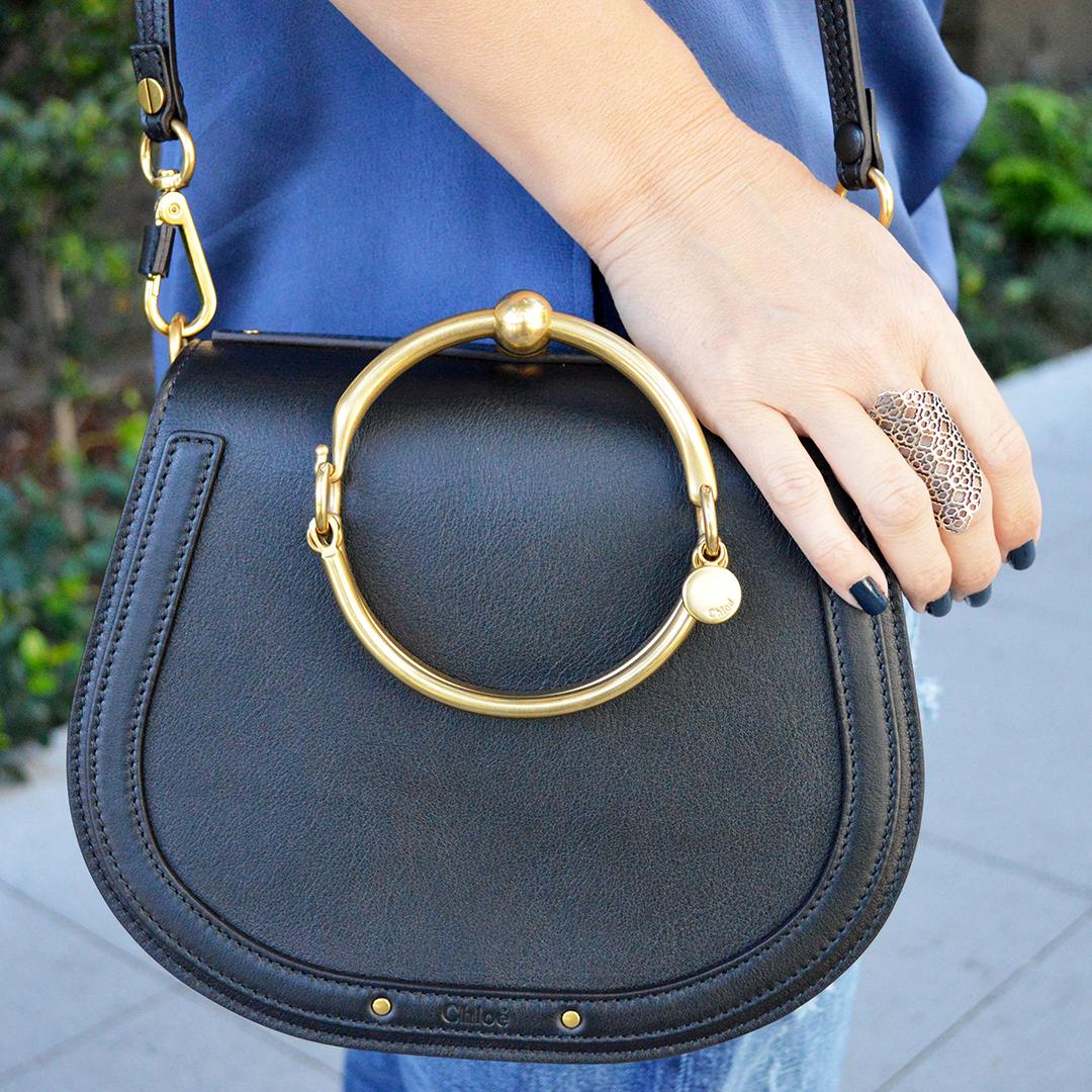 chloe nile mediu black handbag