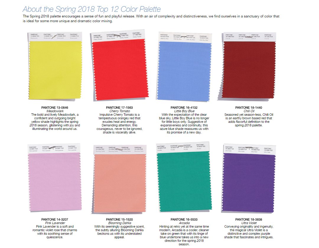 Spring 2018 color pallette