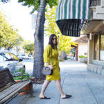 Classic mustard wrap dress for fall by San Francisco designer Karen Klein
