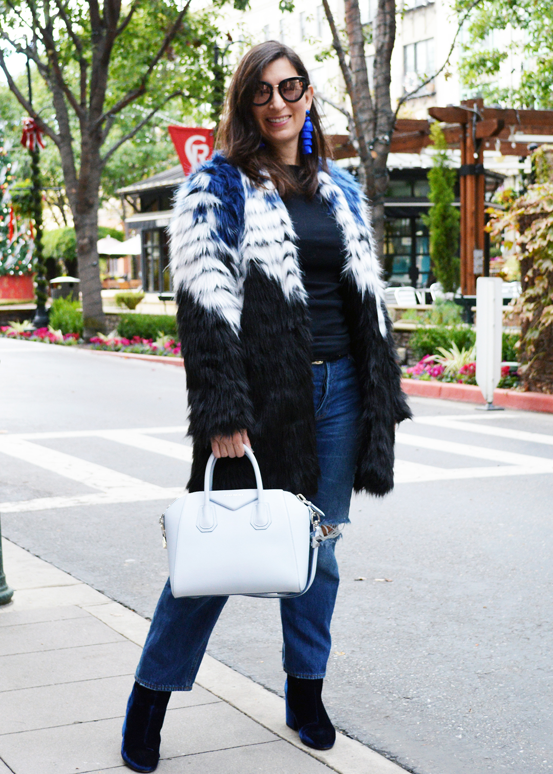 winter faux fur coat outfit idea