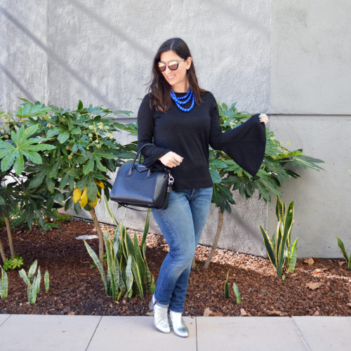 Holiday casual bell sleeves and jeans