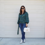 Summer into fall wrap top and jeans