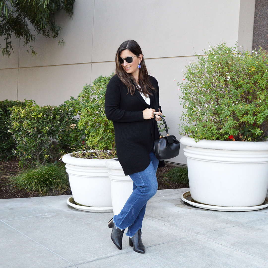 affordable black cardigan and jeans for fall