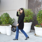 Lightweight black cardigan and jeans for fall