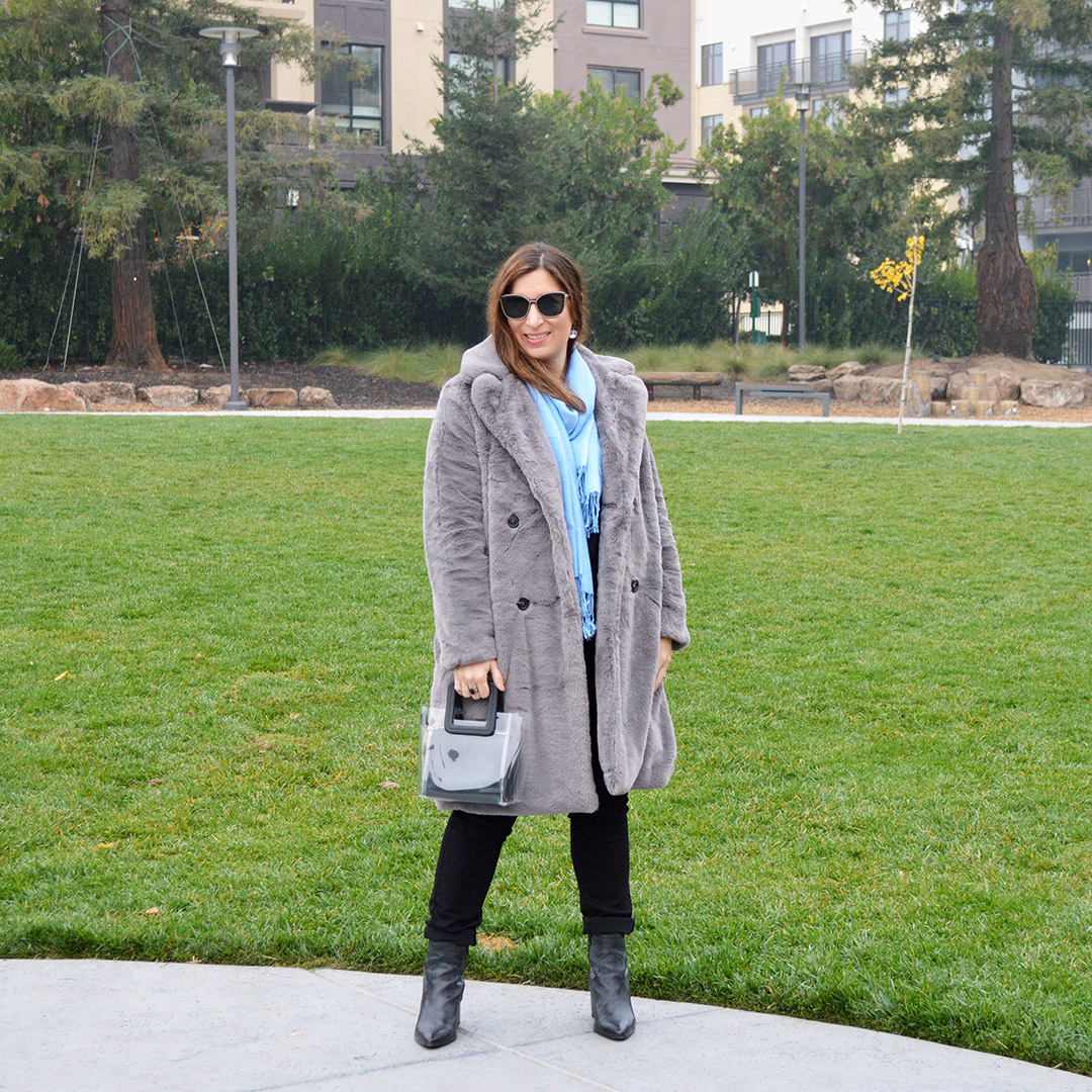 grey faux fur coat san jose street style