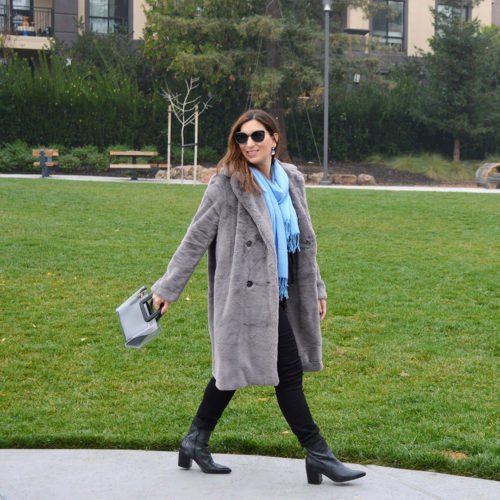 grey faux fur coat winter style