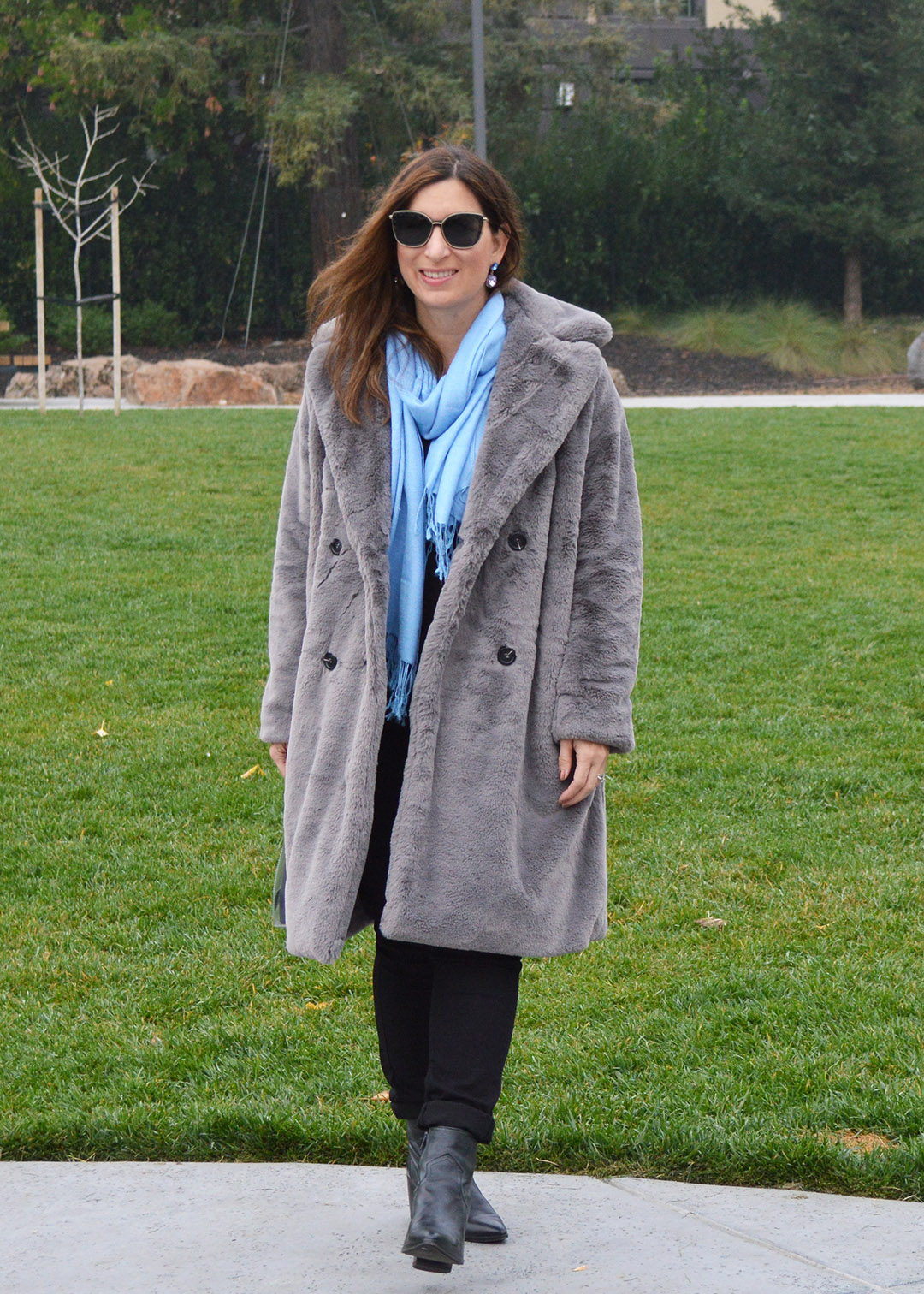 grey teddy coat outfit ideas