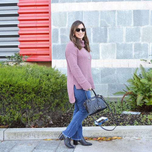 Rose turtleneck sweater on a cool winter day