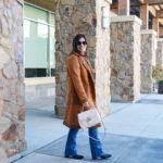 Brown faux fur shearling coat for winter