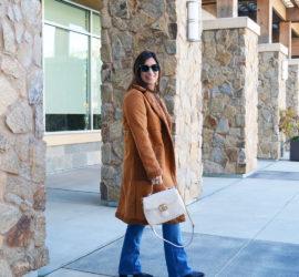 apparis brown faux fur coat