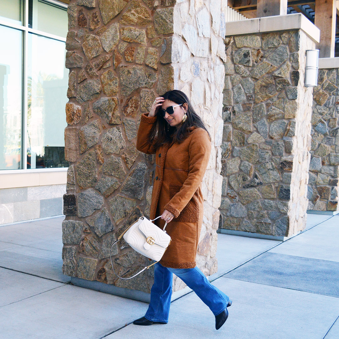 brown faux fur shearling coat