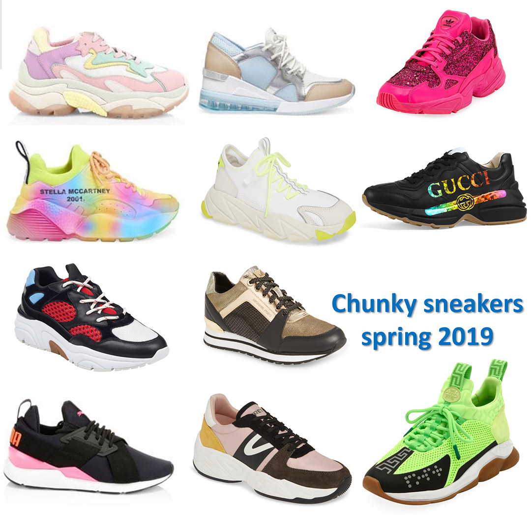 spring 2019 shoe trends chunky sneakers street style