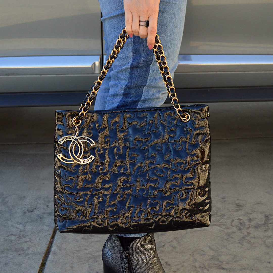 chanel puzzle pieces tote black patent karl lagerfeld