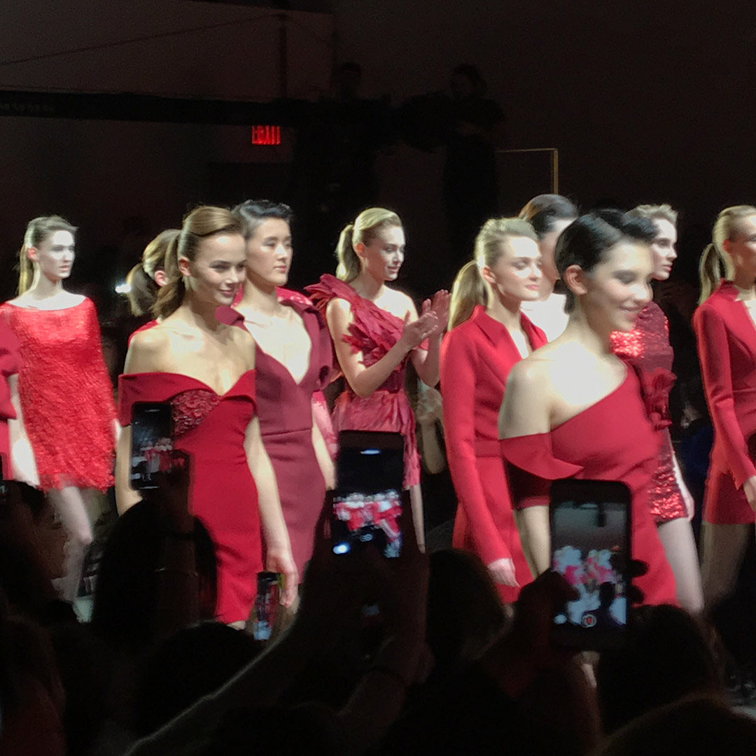 red dress badgley mischka final walk nyfw fw19
